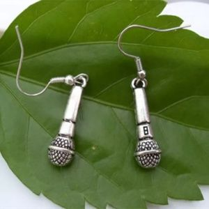 Microphone Earrings silver color